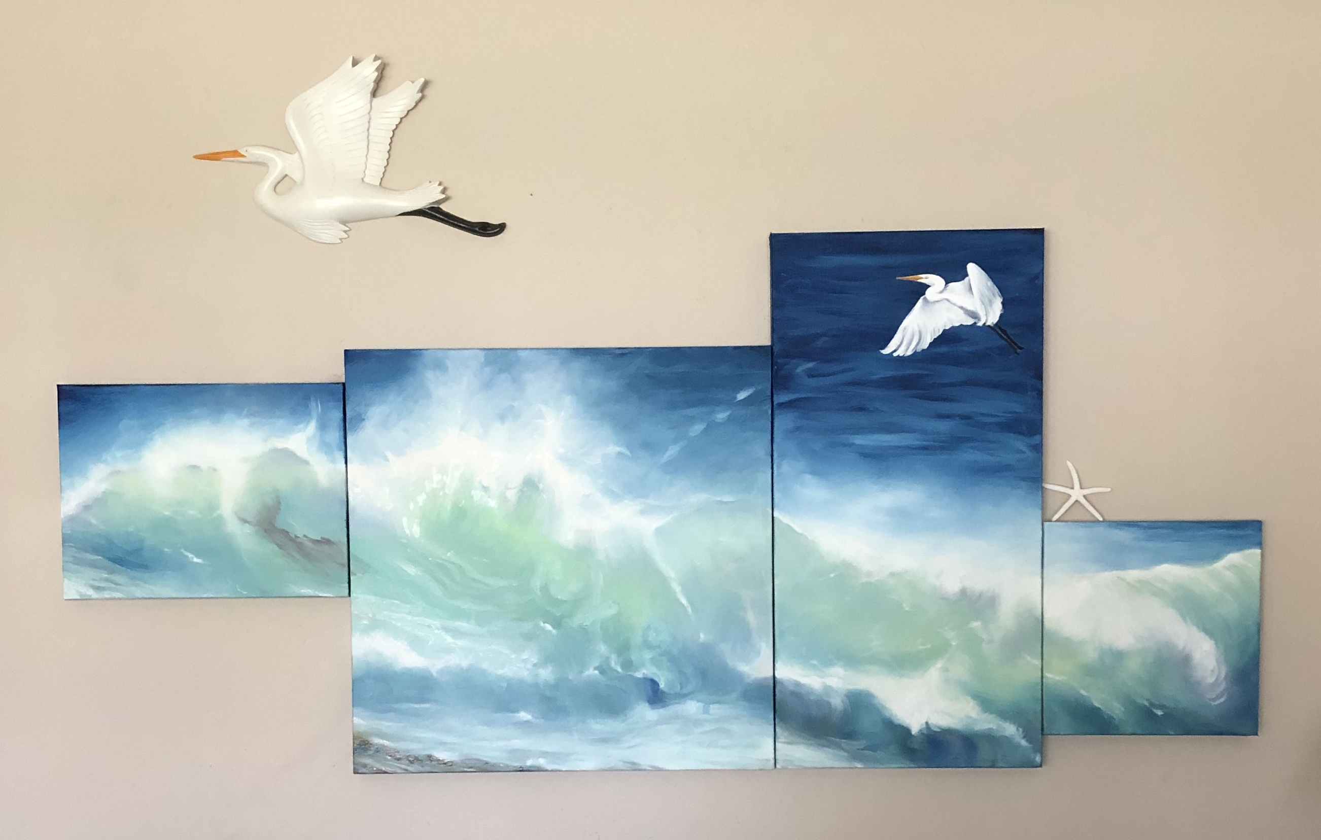 1000 Voices 8 - 30 in x 67 in, Oil on 4 canvases with composite of Great Egret by Lazanna Paskalidis $4500
